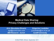 Privacy Challenges And Solutions - IBM Zurich Research Laboratory