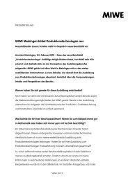 MIWE Meiningen bildet Produktionstechnologen aus - Zweiblick