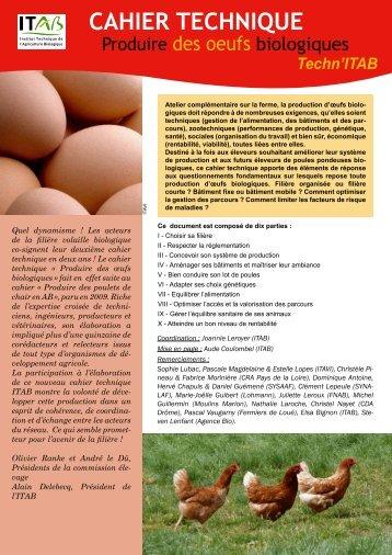 Cahier technique : produire des oeufs biologiques - Itab