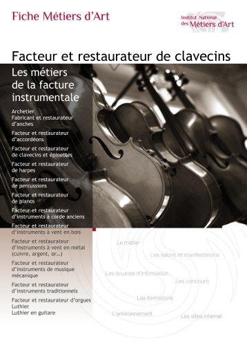 Facteur et restaurateur de clavecins - Institut National des Métiers d'Art