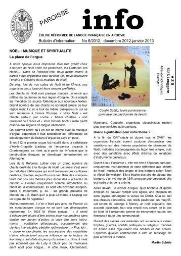 Journal décembre 2012 - Eglise réformée de langue française en ...