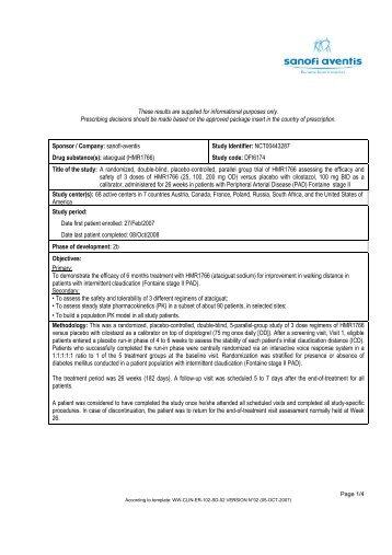 Summary - Sanofi - Sanofi Aventis