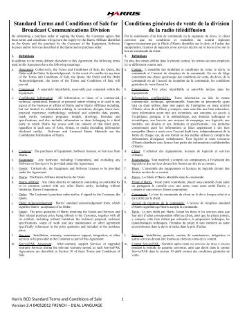 Standard Terms and Conditions of Sale for ... - Harris Broadcast