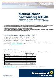 elektronischer Kontoauszug MT940 - Raiffeisen