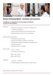 Normen Schulung Metall - verstehen und umsetzen - Zwick