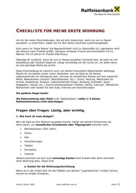 06477140aeedfb CHECKLISTE FÜR MEINE ERSTE WOHNUNG - Raiffeisen