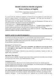 Identité chrétienne-Identité soignante - Polyclinique Saint-Laurent