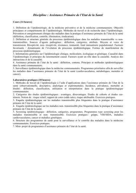 Discipline : Assistance Primaire de l'Etat de la Santé - Gr.T. Popa