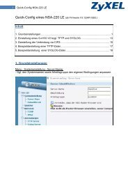 Quick-Config eines NSA-220 LE (ab Firmware V3.12(AFI.0 ... - ZyXEL