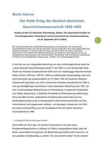Der Kalte Krieg der deutsch-deutschen Geschichtswissenschaft ...