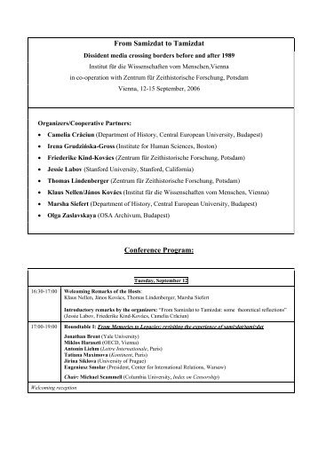 Thursday, September 14 - Zentrum für Zeithistorische Forschung ...