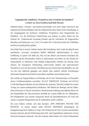 Tagungsbericht - Zentrum für Zeithistorische Forschung Potsdam
