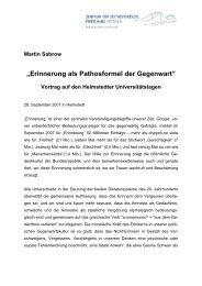 """""""Erinnerung als Pathosformel der Gegenwart"""" - Zentrum für ..."""