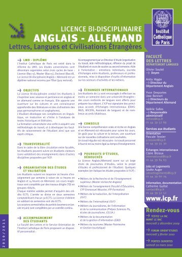 anglais - allemand - Institut Catholique de Paris