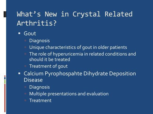 Crystal Induced Arthropathy