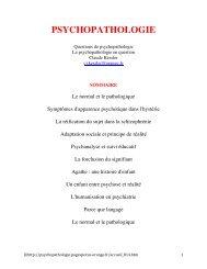 PSYCHOPATHOLOGIE - Psychaanalyse