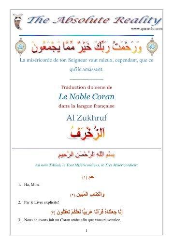 Le Noble Coran Al Zukhruf