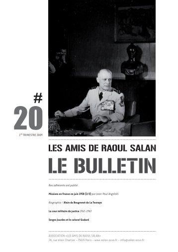 bulletin 20 / 1er trimestre 2009 - Association des amis de Raoul Salan