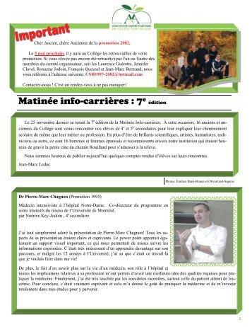 Matinée info-carrières : 7e - Collège Saint-Hilaire