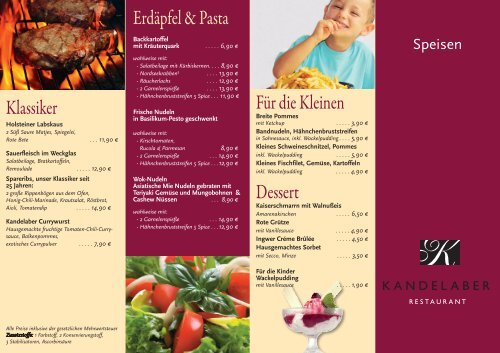 Speisekarte - Restaurant-Kandelaber