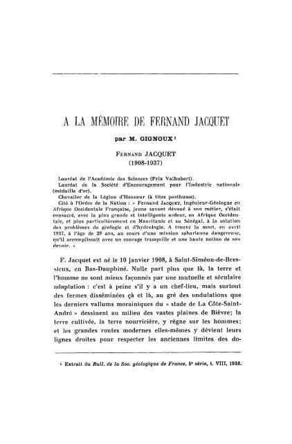 A LA MEMOIRE DE FERNAND JACQUET - Revue de géologie alpine