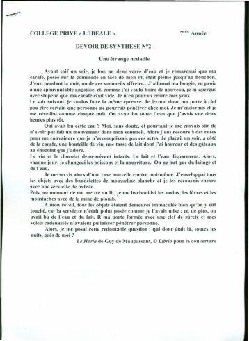 COLLEGE PRIVE« L'IDEALE» 7ème Année DEVOIR DE SYNTHE ...