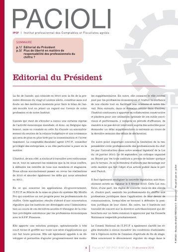 Editorial du Président - IPCF