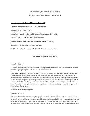 École de Photographie Jean-Paul Boudreau Programmation ...