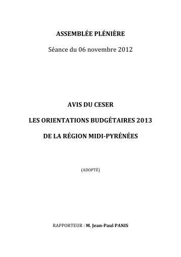Avis du CESER - Les Orientations Budgétaires 2013 de la ... - CESR