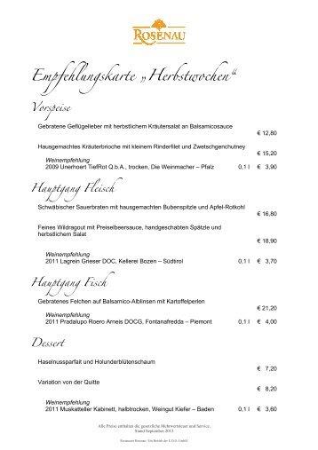 """Empfehlungskarte """"Herbstwochen"""" - Restaurant Rosenau"""