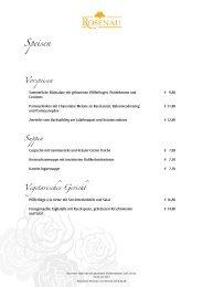 Speisen Vorspeisen - Restaurant Rosenau