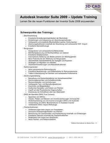 Autodesk Inventor Suite 2009 – Update Training - 3D CAD GmbH