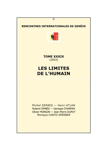 Les limites de l'humain - Rencontres Internationales de Genève