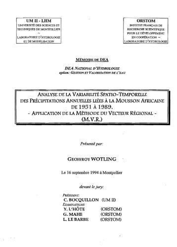 Analyse de la variabilité spatio-temporelle des précipitations ... - IRD