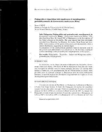 Palpigrades à répartition indo-madécasse et morphogenèse ...