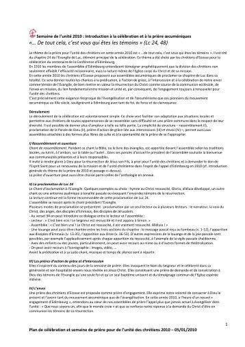 Semaine de l'unité 2010 - Blog réformé d'Alençon