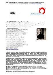 Joseph Parsons - Hope For Centuries - Uwe Kerkau Promotion