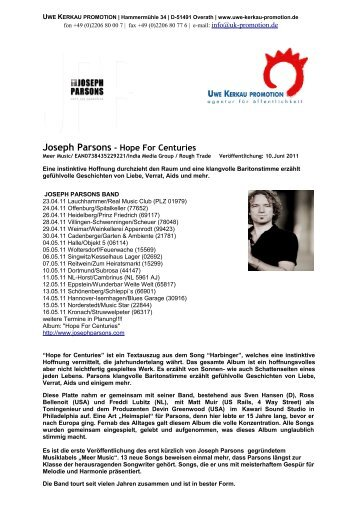 Joseph Parsons - Hope For Centuries - Uwe Kerkau Promotion
