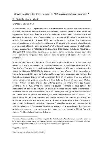Graves violations des droits humains en RDC: un rapport de ... - Aeta