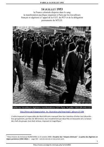 Paris - 14 juillet 1953 - Mouvement social algerien : histoire et ...