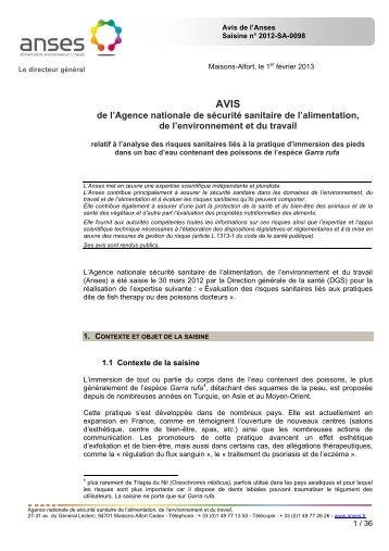 AVIS de l'Anses relatif à l'analyse des risques sanitaires liés à la ...