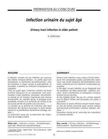 Infection urinaire du sujet âgé