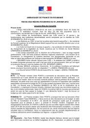 ambassade de france en roumanie revue des médias roumains du ...