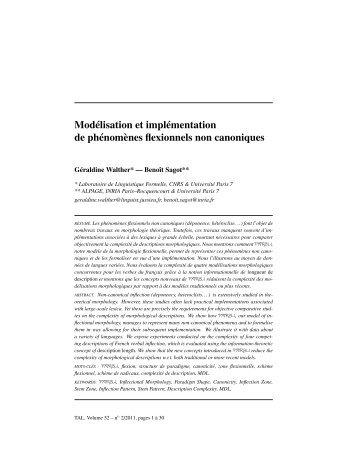 Modélisation et implémentation de phénomènes flexionnels non ...