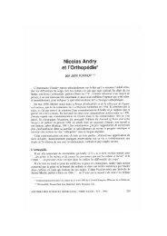 Nicolas Andry et l'Orthopédie* - Bibliothèque interuniversitaire de ...
