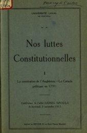 Nos luttes Constitutionnelles - La Fondation Lionel-Groulx