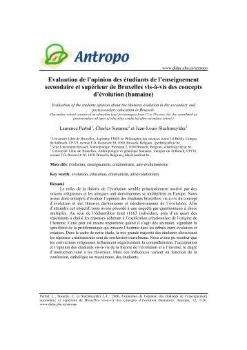 Evaluation de l'opinion des étudiants de l'enseignement ... - Antropo