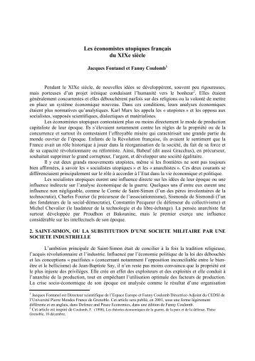Les économistes utopiques français du XIXe siècle - IEIM