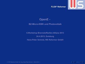 """""""OpenE"""" - Brennstoffzellen-KWK und Photovoltaik"""