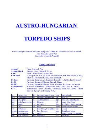 Austro-Hungarian TORPEDO SHIPS